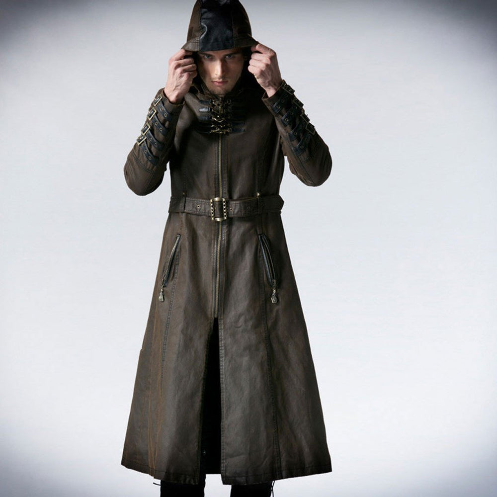 Victorian Steampunk Fashion Mad Burner Men Brown Hooded Long Coat