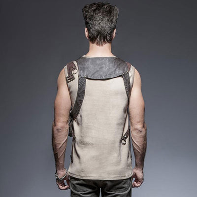 Victorian Steampunk Fashion Mad Burner Men Brown Pocket Leather Vest