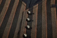 Victorian Steampunk Fashion Mad Burner Men Brown Striped Vest