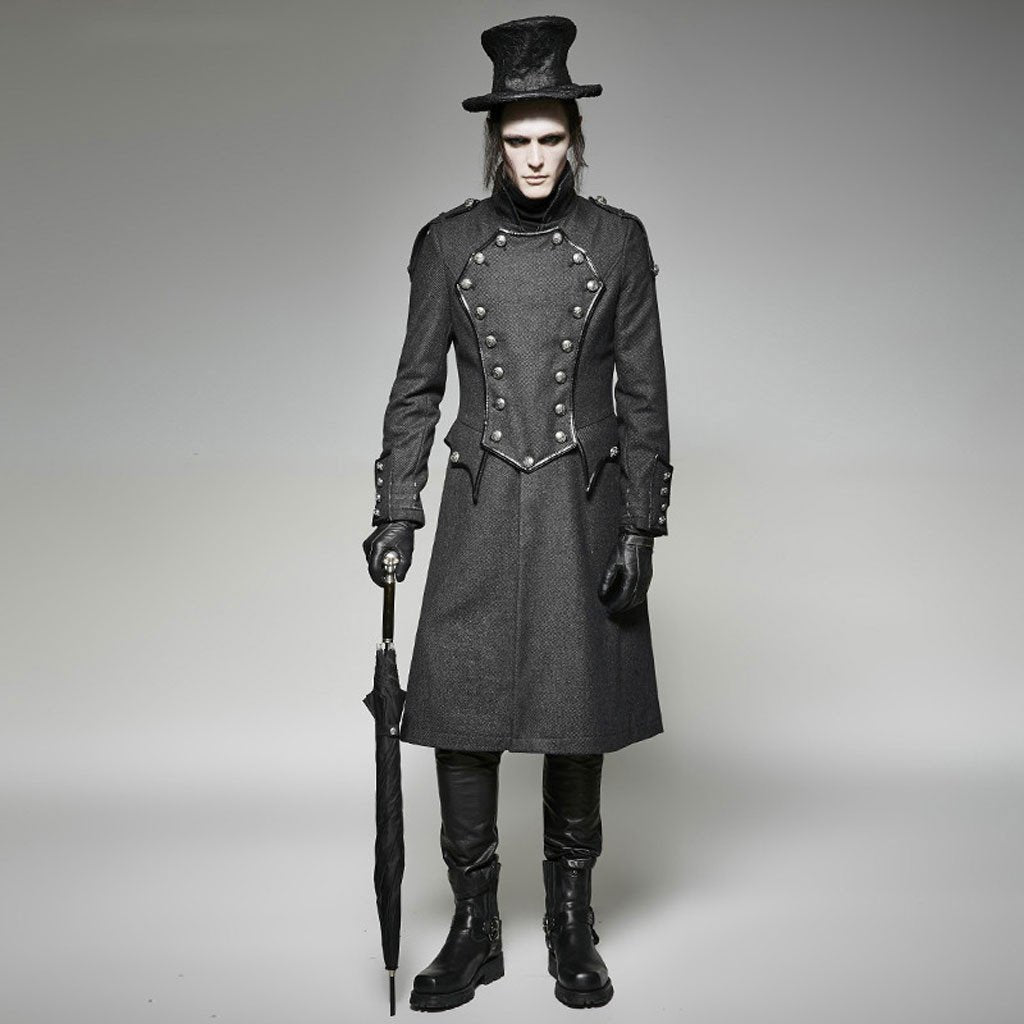 Victorian Steampunk Fashion Mad Burner Men Gray English Long Coat