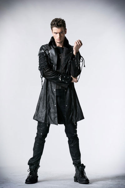 Victorian Steampunk Fashion Mad Burner Men Military Leather Coat