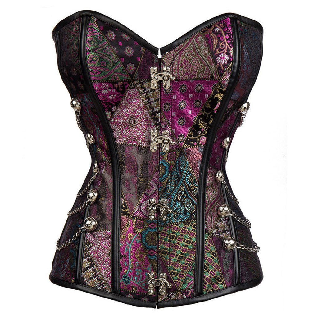 Victorian Steampunk Fashion Mad Burner Purple Chained Corset