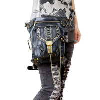 Victorian Steampunk Fashion Mad Burner Vintage Chained Leather Bag