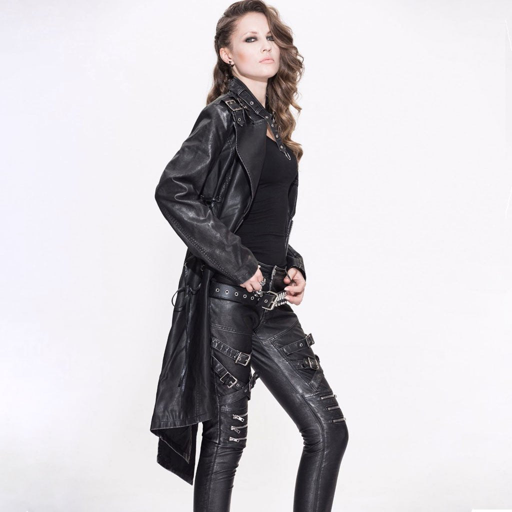 Victorian Steampunk Fashion Mad Burner Women Black Asymmetrical Leather Coat
