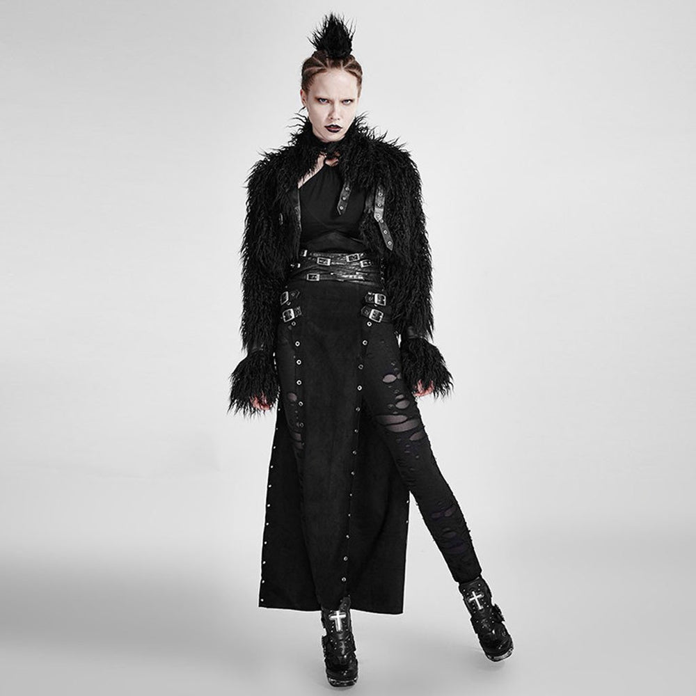 Victorian Steampunk Fashion Mad Burner Women Black Short Furry Coat