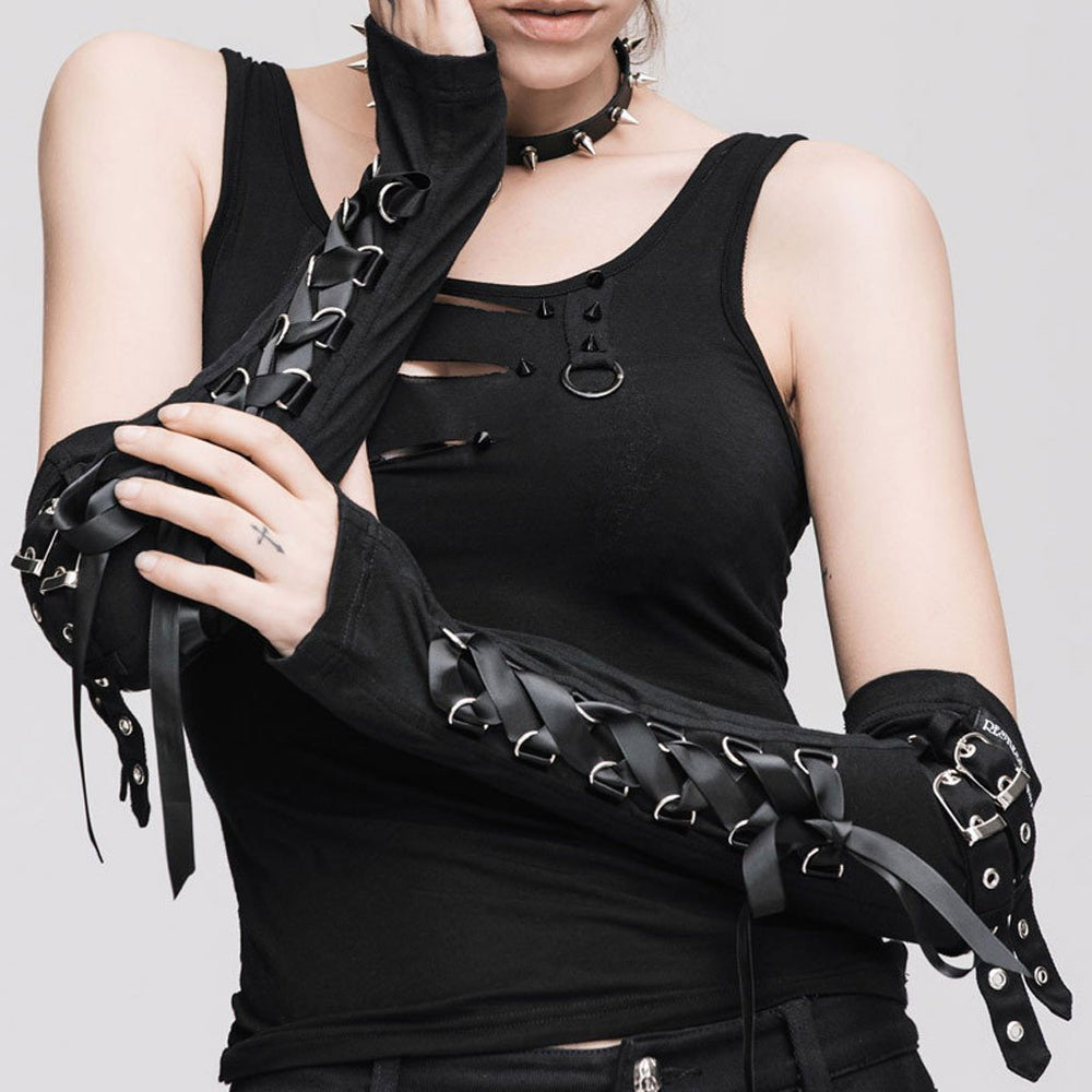 Victorian Steampunk Fashion Mad Burner Women Lace Up Long Gloves