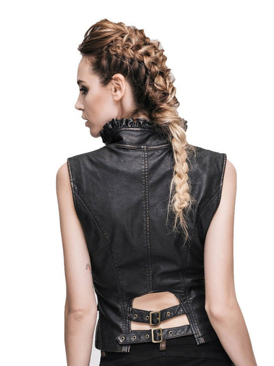 Victorian Steampunk Fashion Mad Burner Women Leather Vest