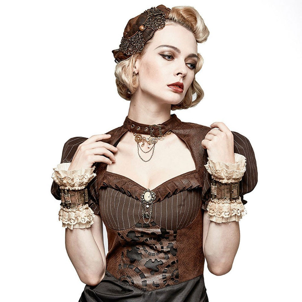 Victorian Steampunk Fashion Mad Burner Women Short Wrist Gloves