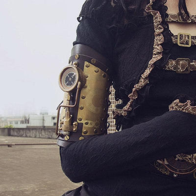 Victorian Steampunk Fashion MadBurner Arm Bracelet with LED Compass