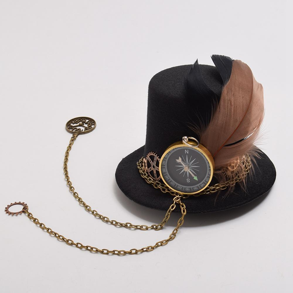 Victorian Steampunk Fashion MadBurner Black Clock Mini Hat