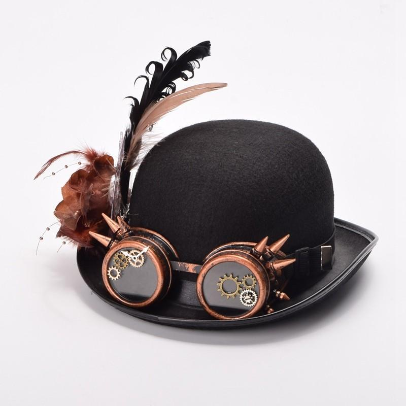 Victorian Steampunk Fashion MadBurner Black Feathers Bowler Hat