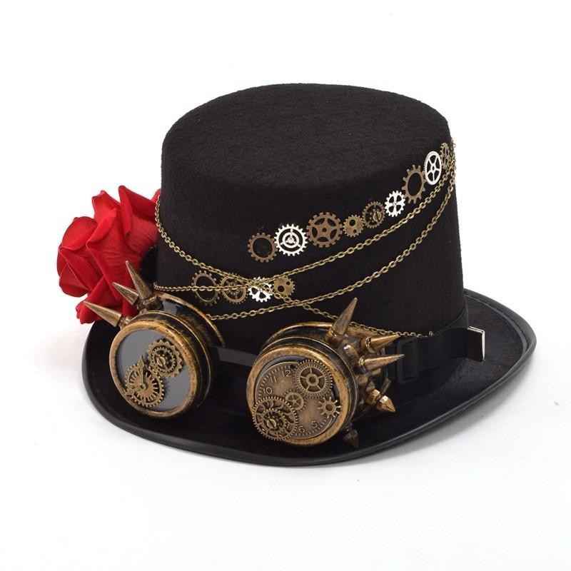 Victorian Steampunk Fashion MadBurner Black Floral Hat