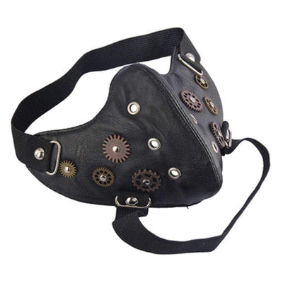 Victorian Steampunk Fashion MadBurner Black Gear Face Mask