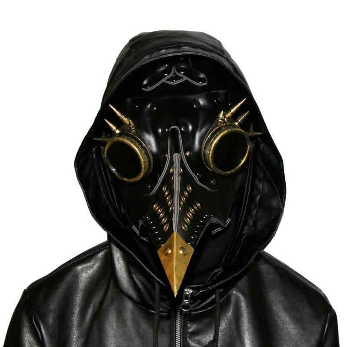 Victorian Steampunk Fashion MadBurner Black Gold Leather Plague Doctor Mask