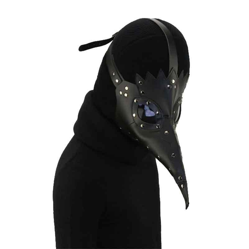 Victorian Steampunk Fashion MadBurner Black Leather Plague Doctor Mask