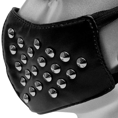Victorian Steampunk Fashion MadBurner Black Rivet Face Mask