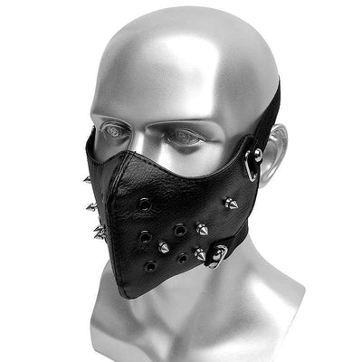 Victorian Steampunk Fashion MadBurner Black Studded Leather Face Mask