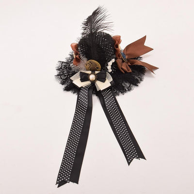 Victorian Steampunk Fashion MadBurner Brown Lace Mini Hat