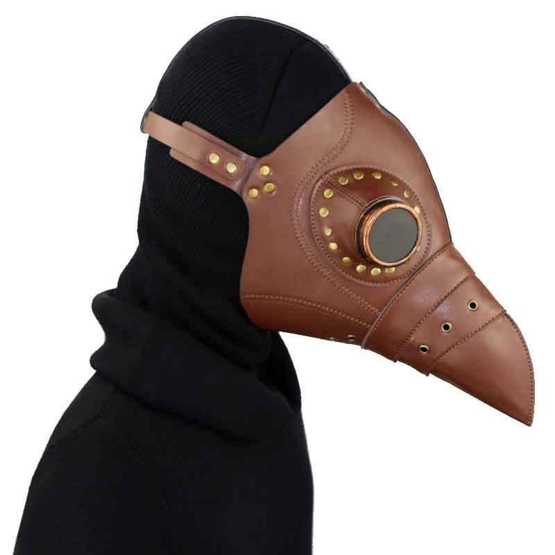 Victorian Steampunk Fashion MadBurner Brown Leather Plague Doctor Mask
