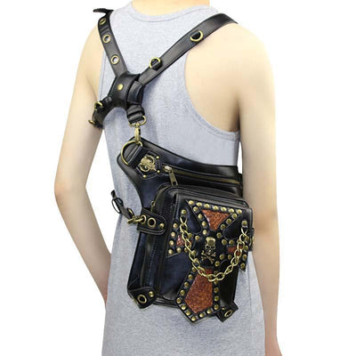 Victorian Steampunk Fashion MadBurner Brown Leather Skull Bag