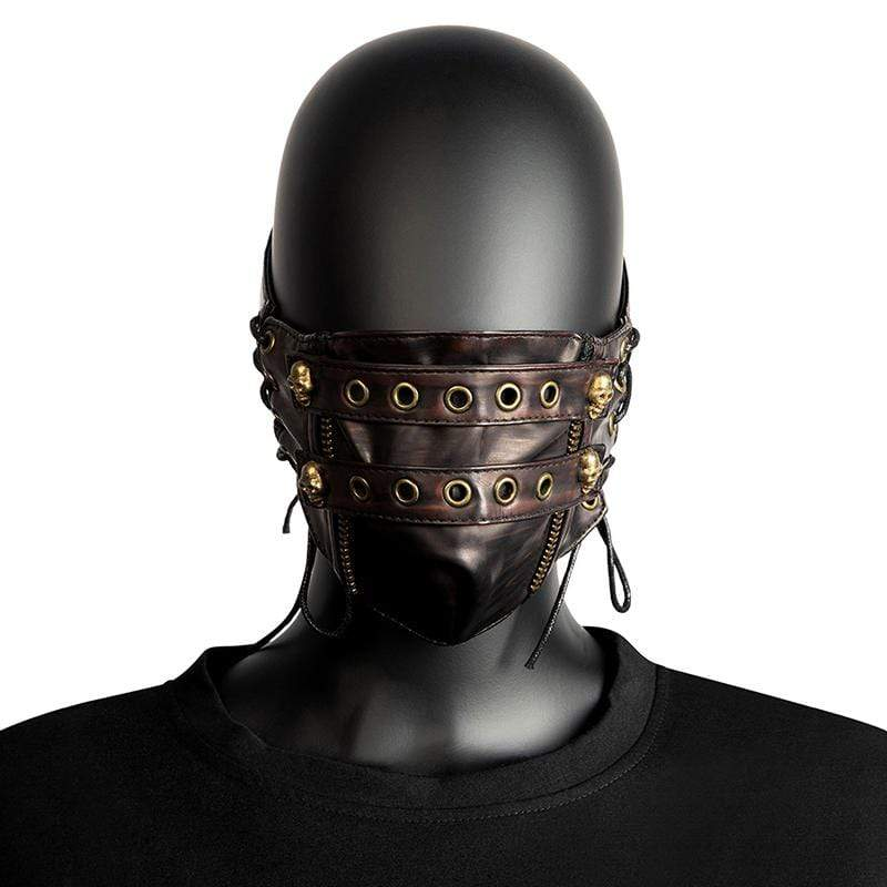 Victorian Steampunk Fashion MadBurner Brown Skull Face Mask