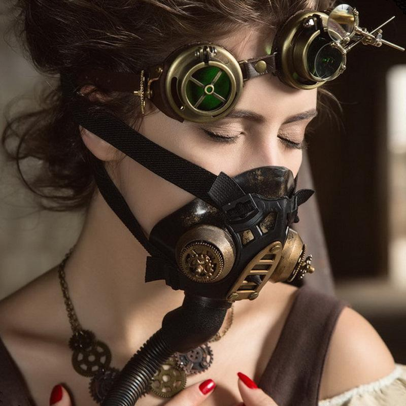 Victorian Steampunk Fashion MadBurner Gold Respirator Mask