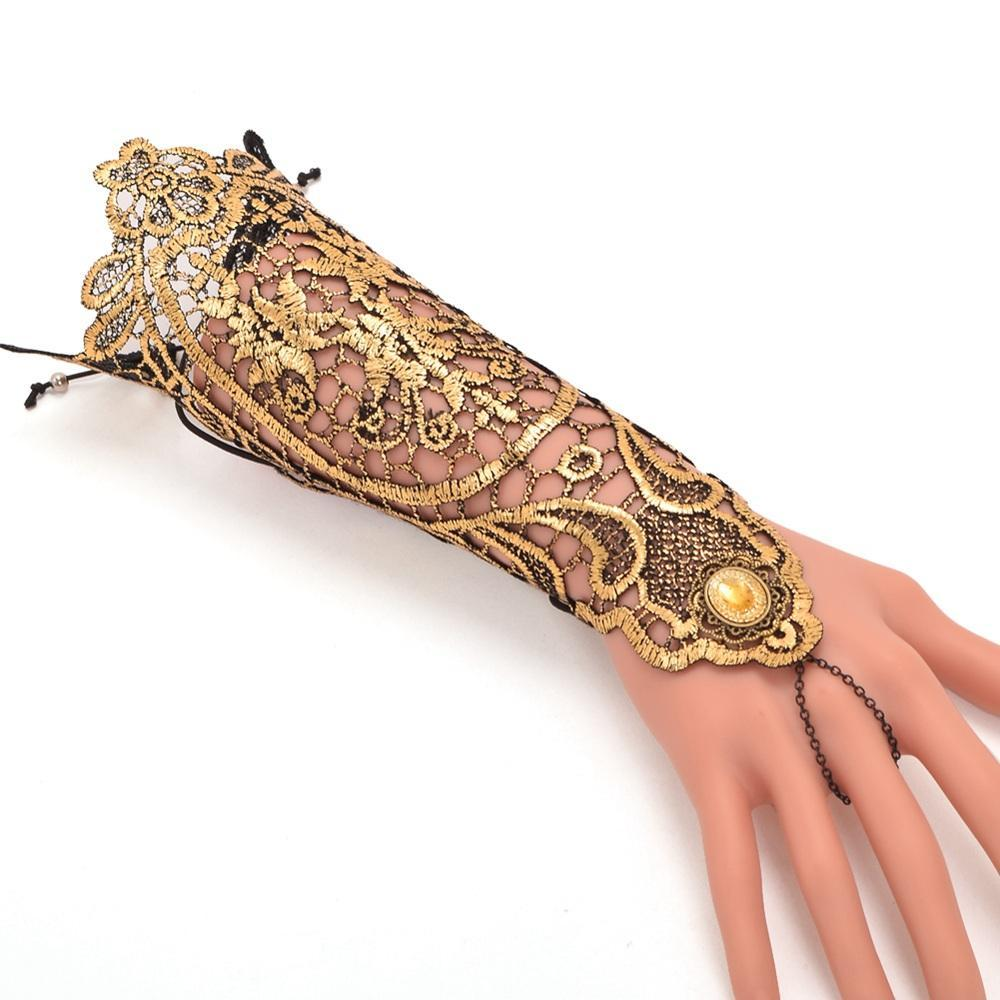 Victorian Steampunk Fashion MadBurner Golden Lace Glove