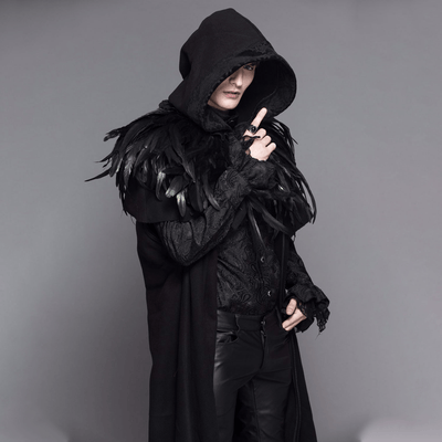 Victorian Steampunk Fashion MadBurner Men Black Velvet Coat with Feather Collar