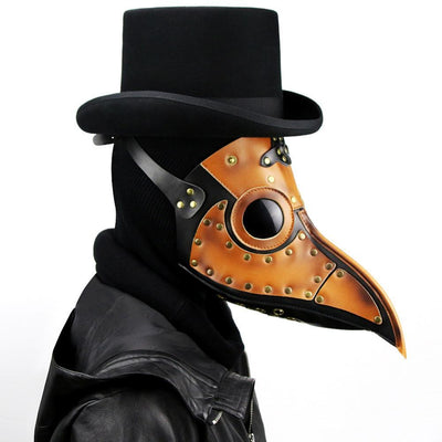 Victorian Steampunk Fashion MadBurner Orange Leather Plague Doctor Mask