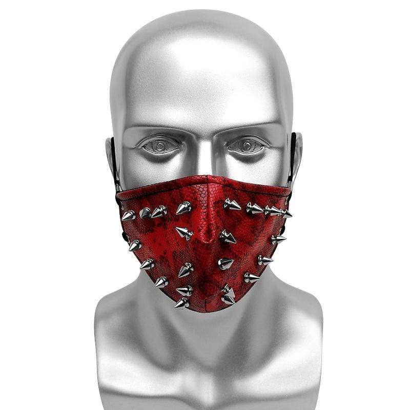 Victorian Steampunk Fashion MadBurner Red Snakeskin Face Mask