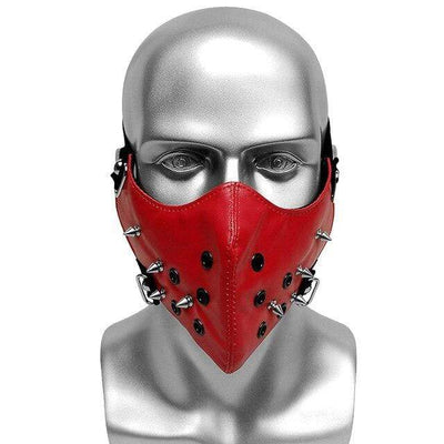 Victorian Steampunk Fashion MadBurner Red Studded Leather Face Mask