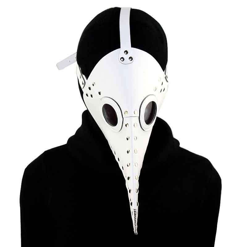 Victorian Steampunk Fashion MadBurner White Leather Plague Doctor Mask