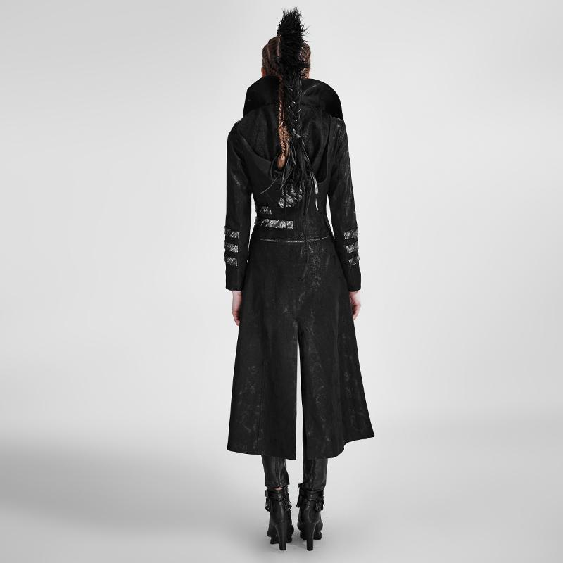 Victorian Steampunk Fashion MadBurner Women Black Long Coat