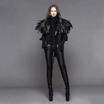 Victorian Steampunk Fashion MadBurner Women Black Velvet Coat with Feather Collar