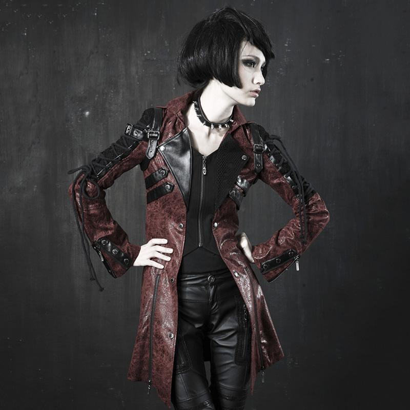 Victorian Steampunk Fashion MadBurner Women Distressed Leather Jacket