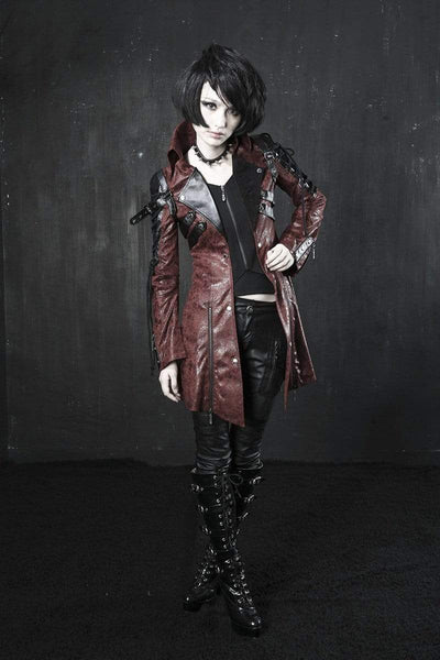 Victorian Steampunk Fashion MadBurner Women's Distressed Leather Jacket