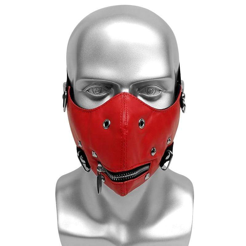 Victorian Steampunk Fashion MadBurner Zipped Red Face Mask