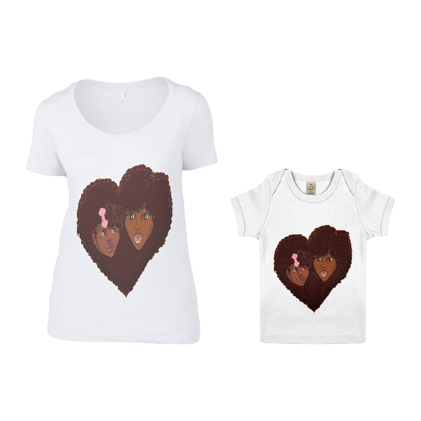 Matching Mother And Daughter Love Heart Tops