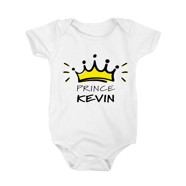 White babygrow with design of yellow crown outlined in black with the letters prince and Childs name underneath in black writing.