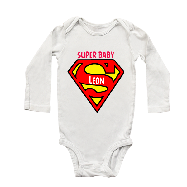 Super Baby Personalised Long Sleeve Babygrow