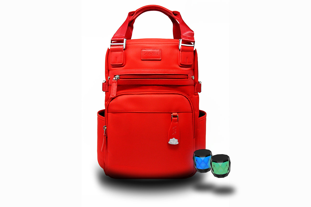 RED BAG WITH BLUETOOTH SPEAKERS
