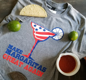 Make Margaritas Great Again! printed in USA style red, white and blue stars and stripes with a margarita glass and lime across the chest of a unisex soft style short sleeve heather grey t-shirt - featured with taco, lime and salsa - Dalton Ink