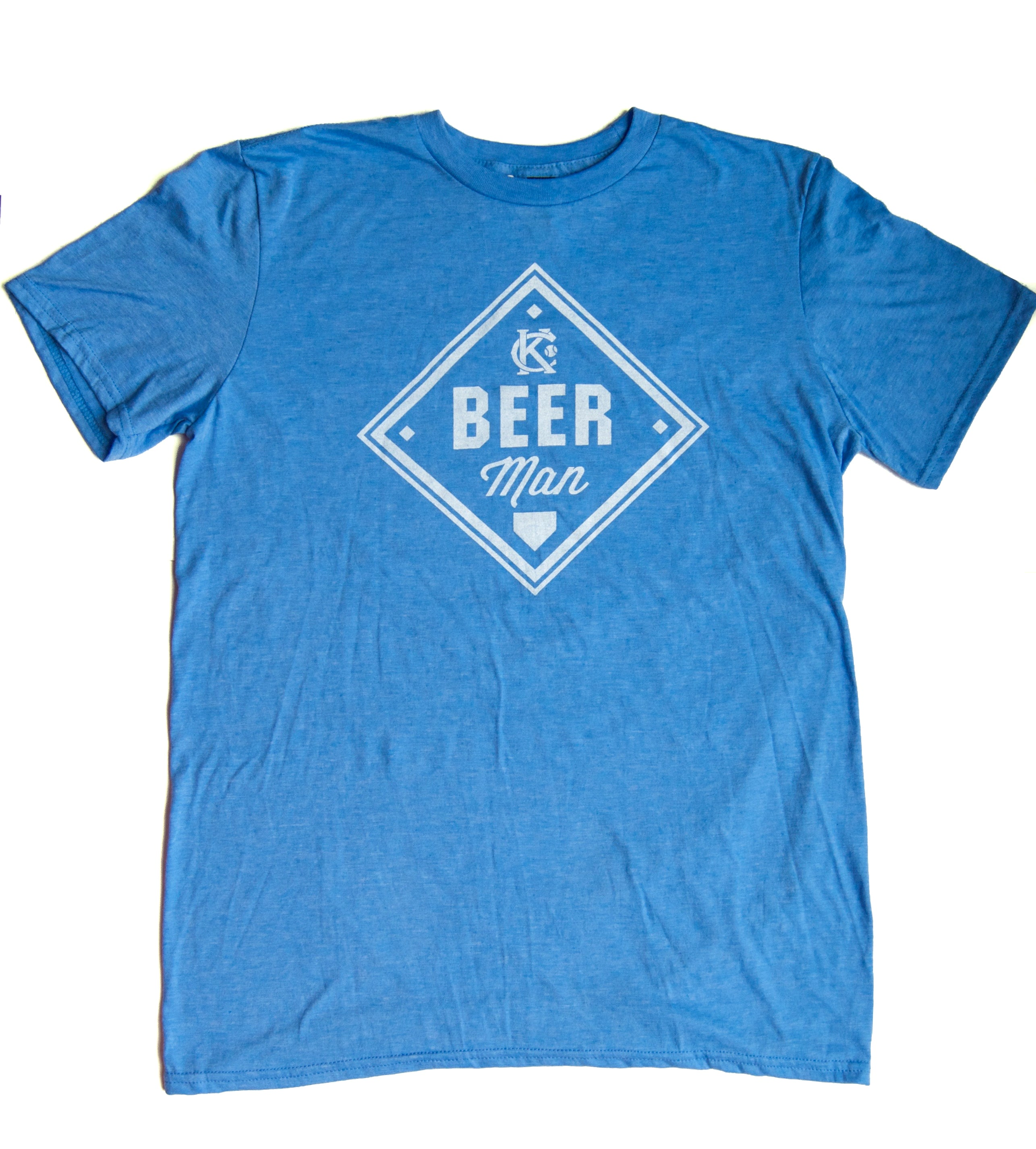 Vintage Kansas City soft style heather blue unisex short sleeve t-shirt featuring the vintage KC logo and a baseball diamond with Beer Man printed in white print across the chest - Dalton Ink