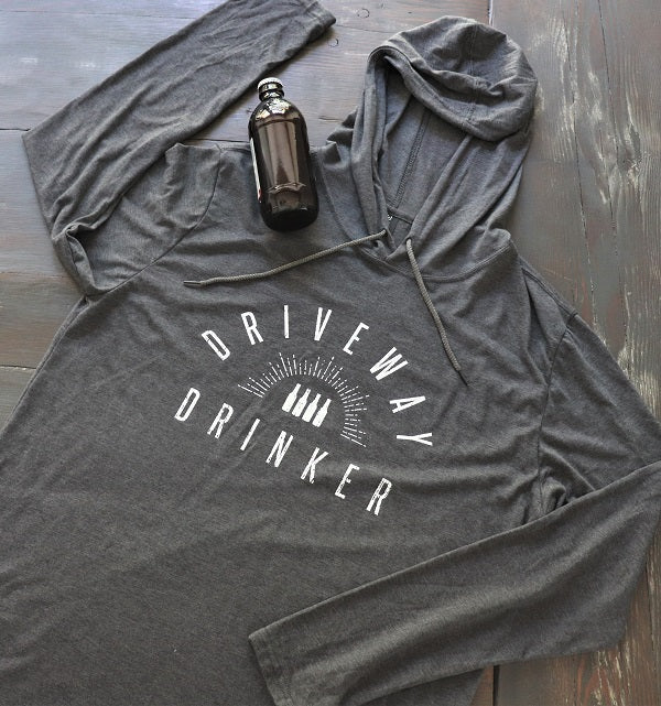 Grey Lightweight Unisex Hoodie with Driveway Drinker in White print