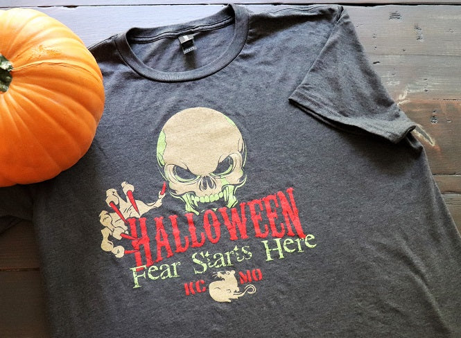 KC MO Halloween Fear starts here in full color on a heather charcoal unisex short sleeve t-shirt - Dalton Ink