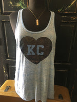 Heather Grey flowy women's tank with KC printed on a Glitter Heart  - Dalton Ink