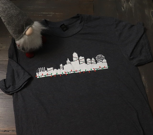 Kansas City Skyline with Christmas Lights Short Sleeve