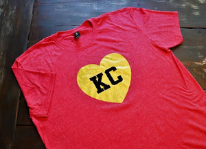 KC Heart - Glitter Gold Heart with KC in black lettering on a heather red unisex soft style unisex t-shirt - Dalton Ink