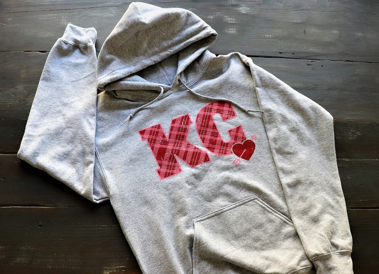 KC Plaid Heart Sweatshirt - KC Shirts
