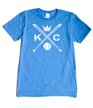 Vintage Kansas City soft style heather blue unisex short sleeve t-shirt featuring the vintage KC logo Sporting the vintage KC logo, crossed baseball bats, Crown and baseball in white print across the chest - Dalton Ink